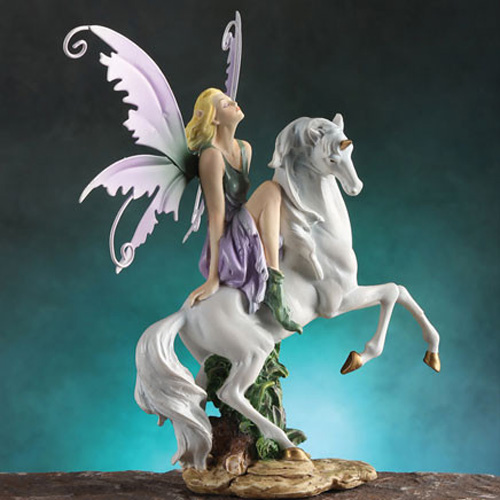 FAIRY RIDING WHITE UNICORN