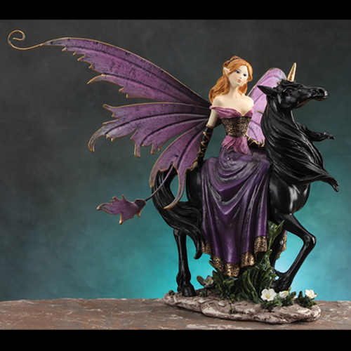 FAIRY RIDING BLACK UNICORN- SMALL