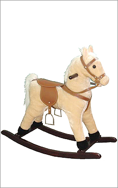 Small palomino plush rocking horse
