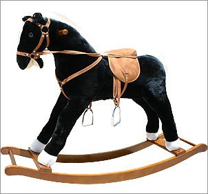 Large Black plush rocking horse